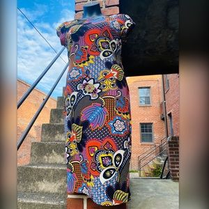 Eci New York 60s Print Colorful Bodycon Dress